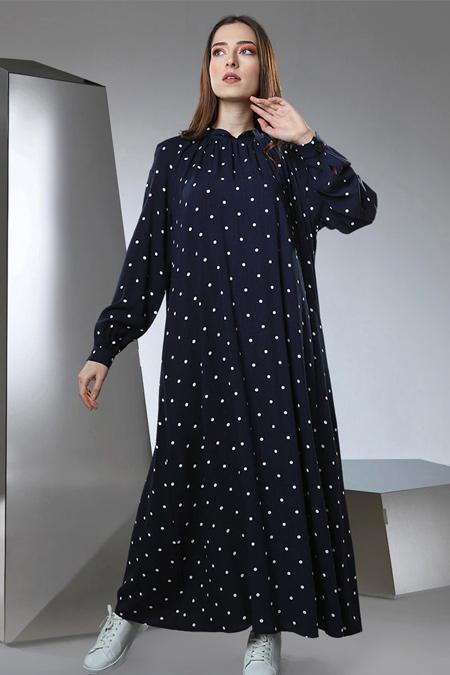 Sahra Afra Lacivert Retten Elbise