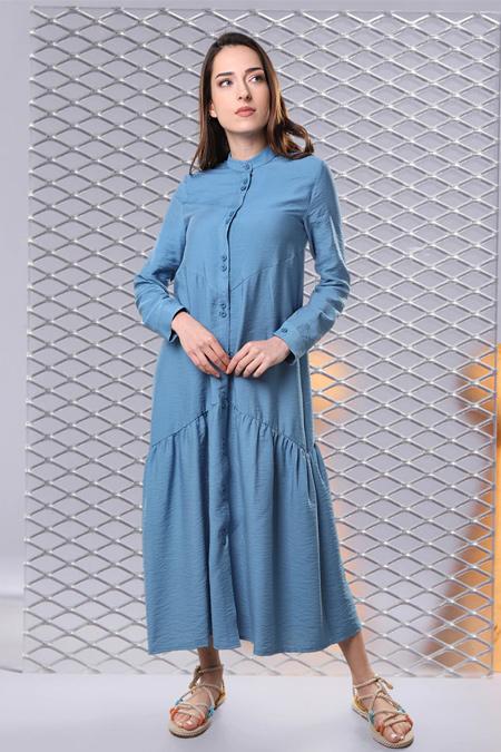 Sahra Afra Mavi Mariposa Elbise