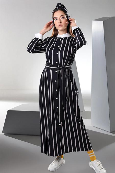 Sahra Afra Siyah Blanco Elbise
