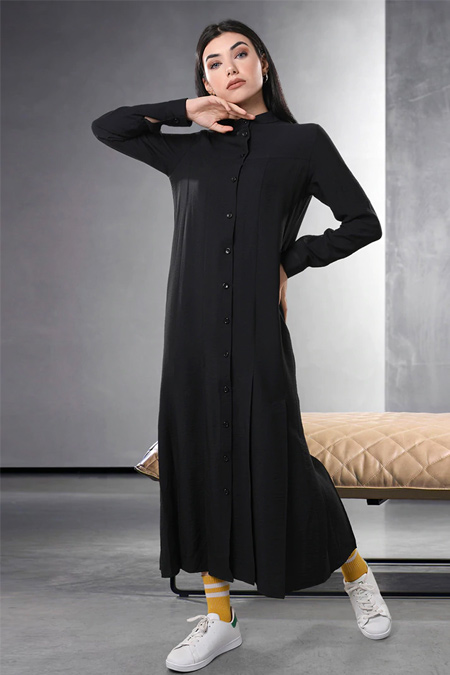 Sahra Afra Siyah Cuella Elbise