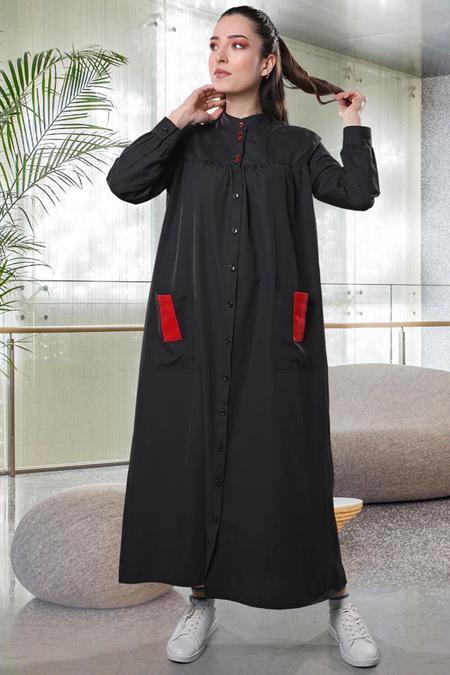 Sahra Afra Siyah Pocket Elbise