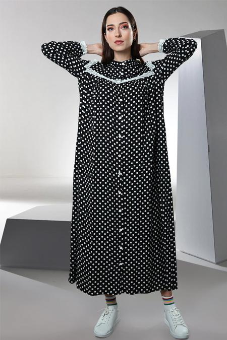 Sahra Afra Siyah Polka Elbise
