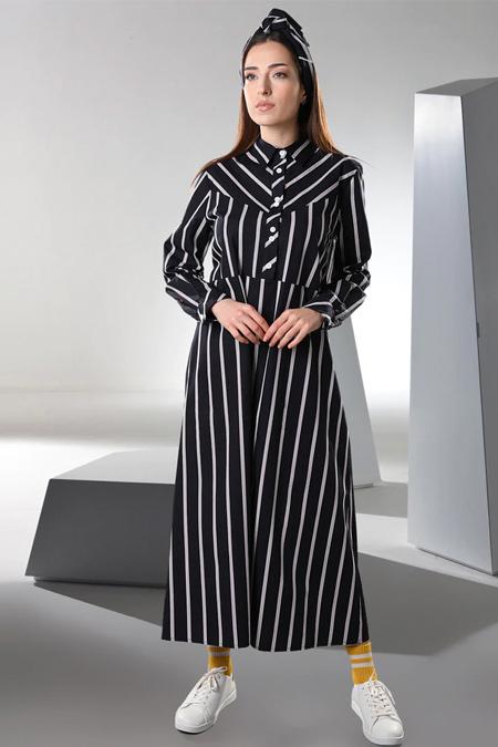 Sahra Afra Siyah Vineto Elbise