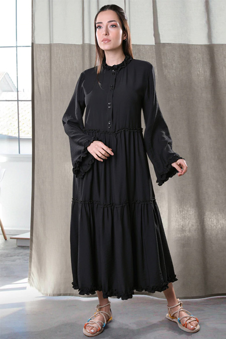 Sahra Afra Siyah Volante Elbise