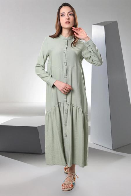 Sahra Afra Yeşil Mariposa Elbise