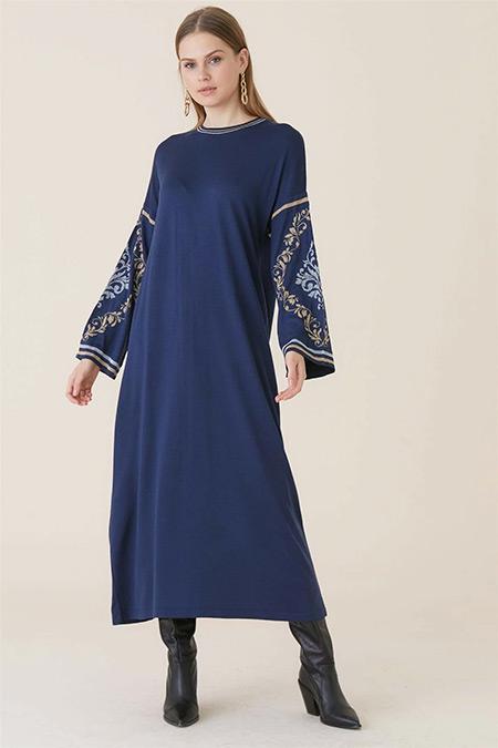 Tığ Triko İndigo Şanghay Elbise