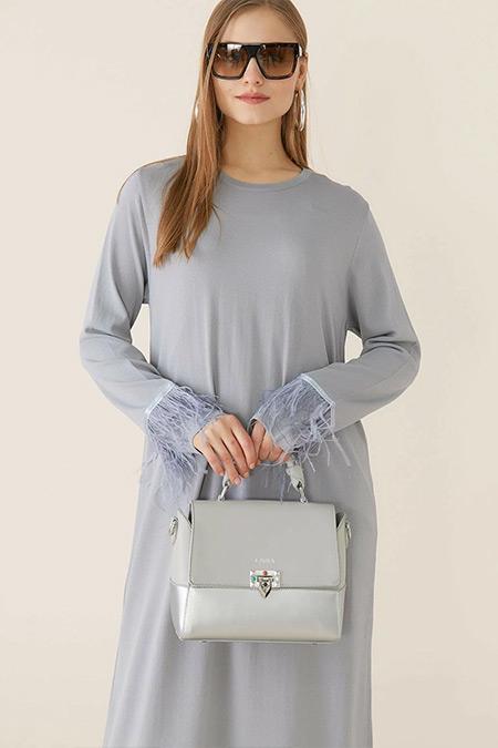Tığ Triko Gri Otrişli Elbise