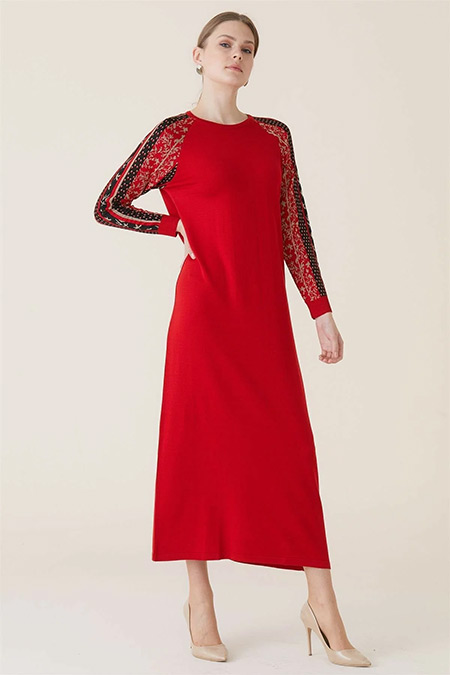 Tığ Triko Kırmızı Saraybosna Elbise