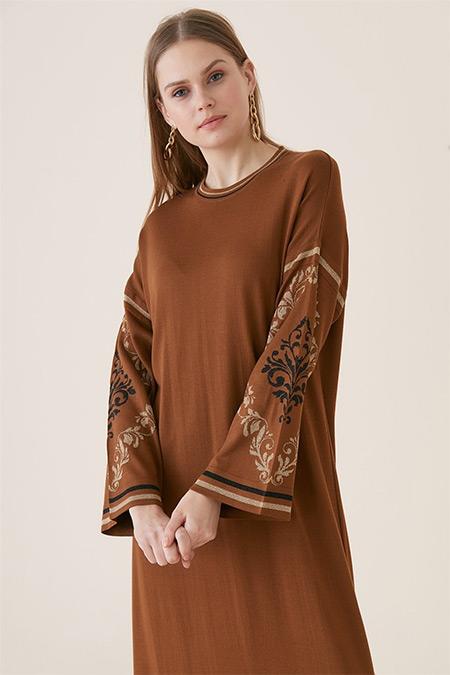 Tığ Triko Karamel Şanghay Elbise