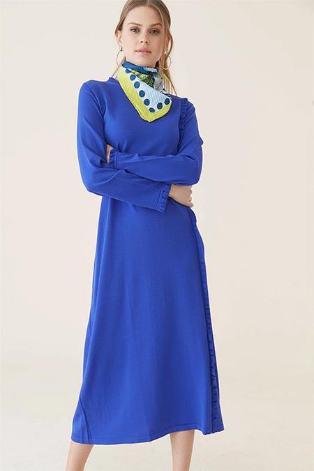 Tığ Triko Morcivert Fırfır Detaylı Elbise