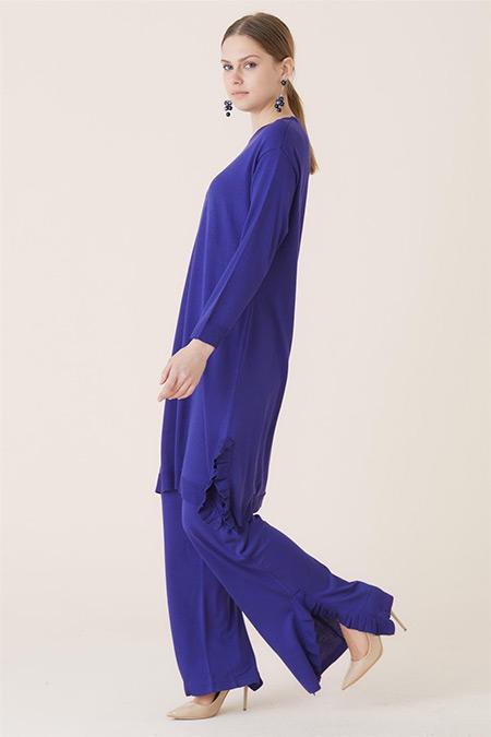 Tığ Triko Saks Fırfır Detaylı Yırtmaçlı Tunik Takım