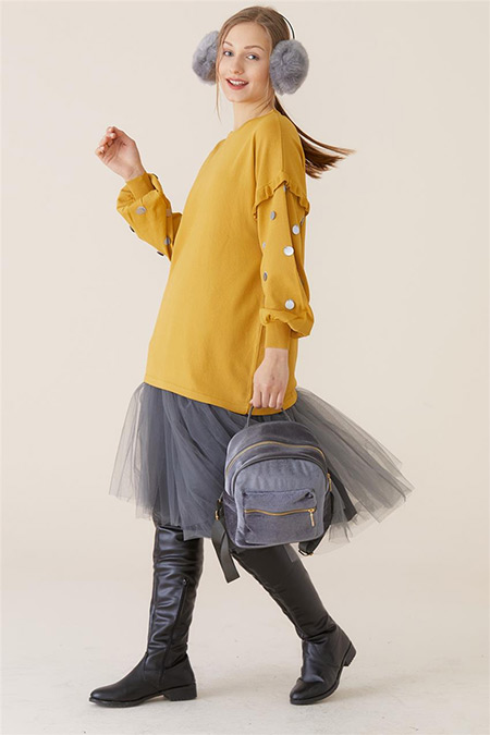 Tığ Triko Sarı Puanlı Bluz