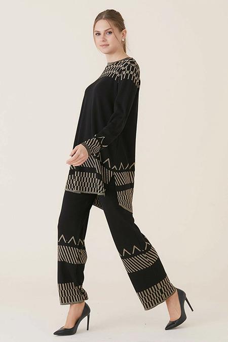 Tığ Triko Siyah Gold Nürnberg Pantolon Tunik Takım