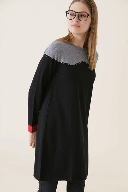 Tığ Triko Siyah Gri Robası Farklı Tunik