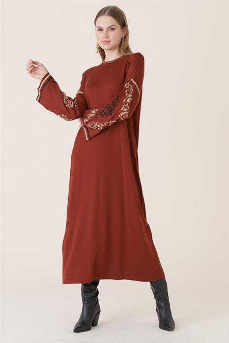 Tığ Triko Taba Şanghay Elbise