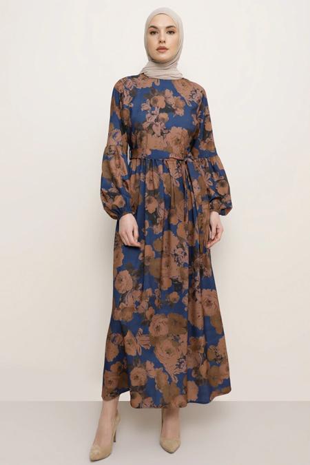Tavin İndigo Desenli Elbise