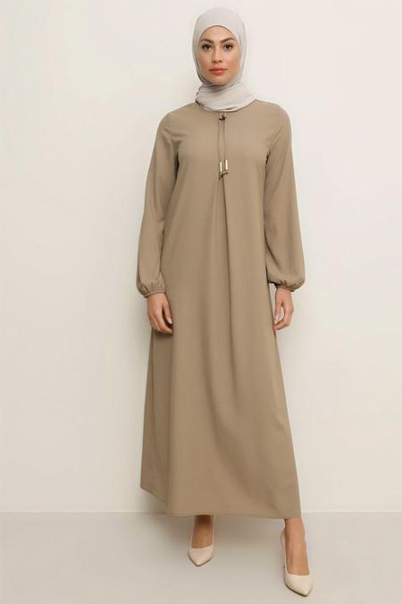 Tavin Vizon A Pile Fiyonk Yaka Detaylı Elbise
