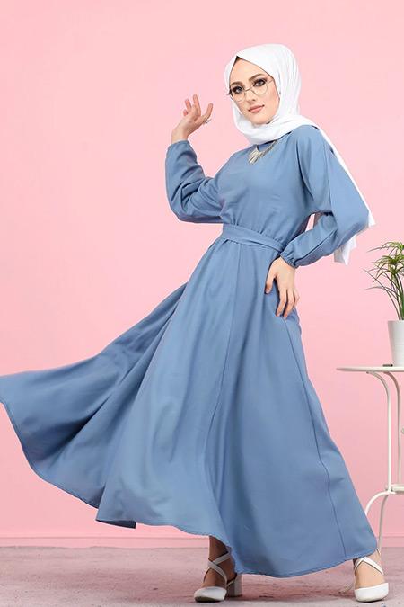 Tofisa İndigo Tesettür Kuşaklı Elbise