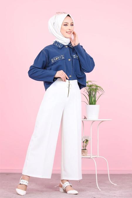 Tofisa Beyaz Tesettür Ön Fermuarlı Pantolon