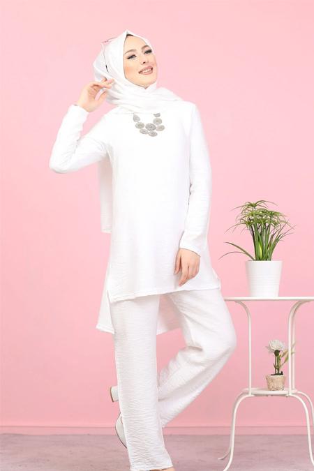 Tofisa Beyaz Tesettür Tunik Pantolon Şal