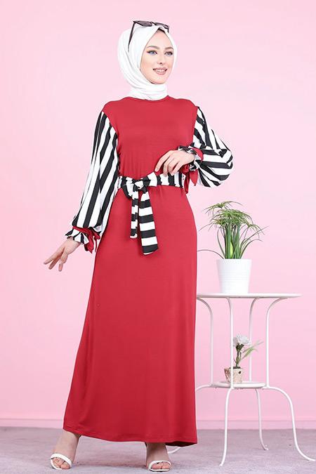 Tofisa Bordo Tesettür Elbise