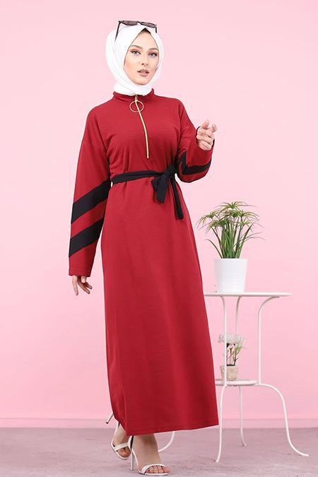 Tofisa Bordo Tesettür Kuşaklı Elbise