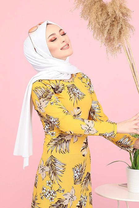 Tofisa Hardal Tesettür Çiçekli Krep Elbise