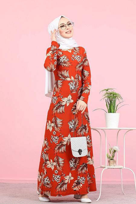 Tofisa Kiremit Tesettür Çiçekli Krep Elbise
