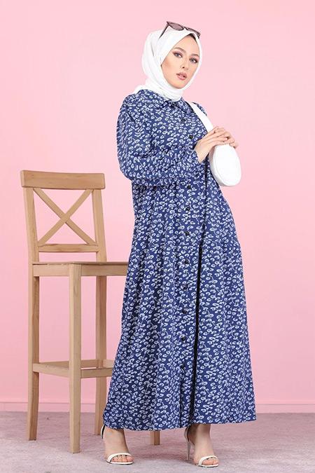 Tofisa Lacivert Tesettür Desenli Elbise
