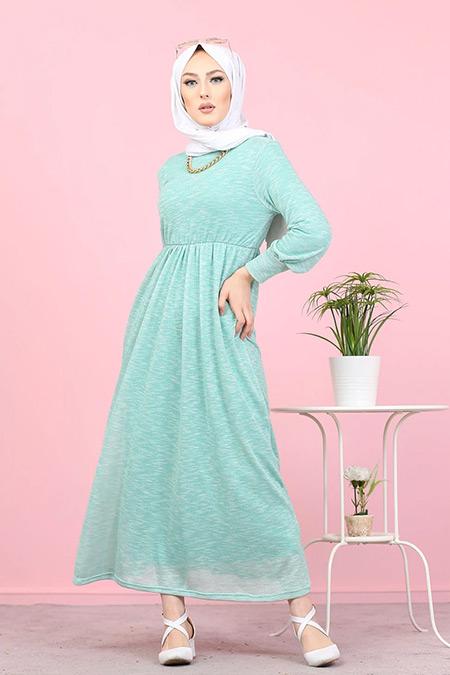 Tofisa Mint Tesettür Simli Elbise