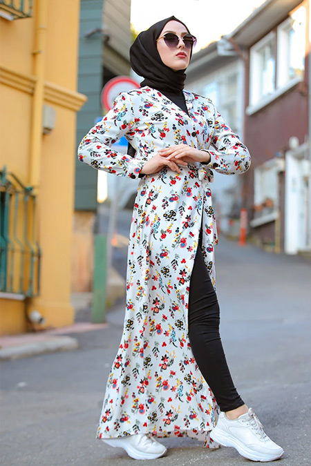 Tofisa Nar Çiçeği Tesettür Viskon Elbise