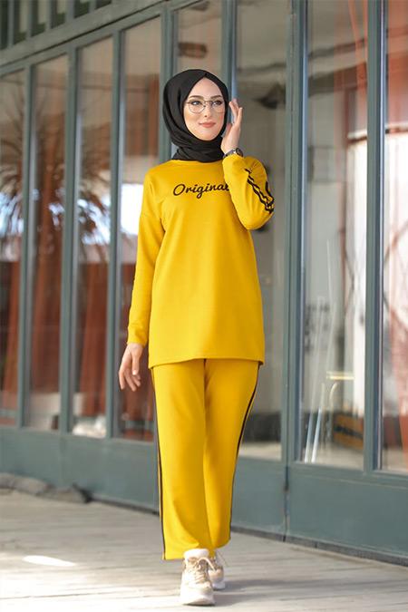 Tofisa Sarı Tesettür Tunik Pantolon Takım