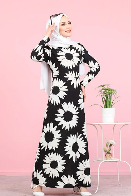 Tofisa Siyah Tesettür Çiçekli Krep Elbise