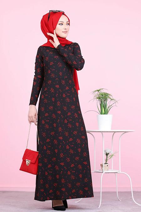 Tofisa Siyah Tesettür Elbise