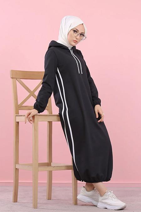 Tofisa Siyah Tesettür Kapüşonlu Tunik Elbise
