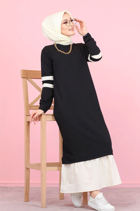 Tofisa Siyah Tesettür Garnili Elbise