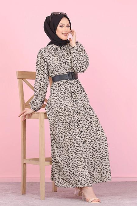 Tofisa Taş Tesettür Desenli Elbise