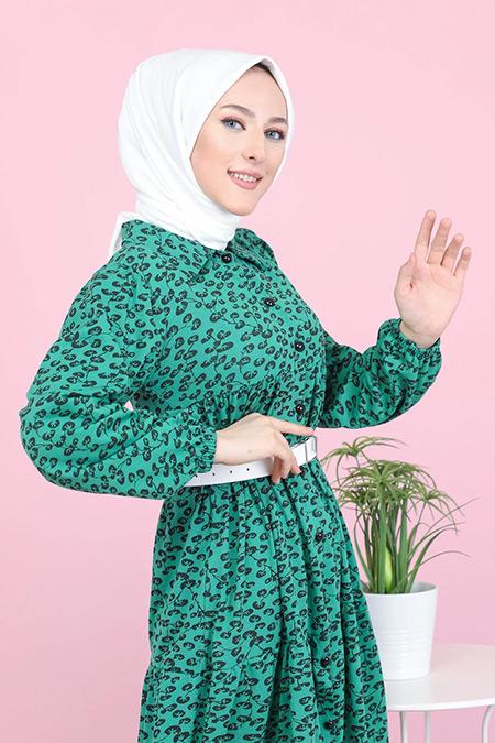 Tofisa Yeşil Tesettür Desenli Elbise