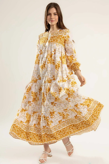 Y-London Hardal Çiçek Desenli Bileği Lastikli Uzun Elbise