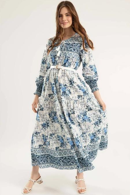Y-London Mavi Çiçek Desenli Bileği Lastikli Uzun Elbise