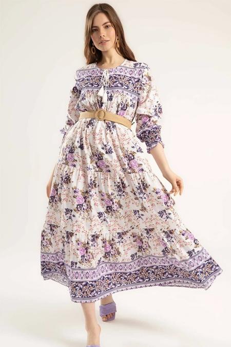 Y-London Mor Çiçek Desenli Bileği Lastikli Uzun Elbise