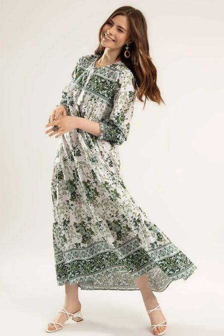 Y-London Yeşil Çiçek Desenli Bileği Lastikli Uzun Elbise