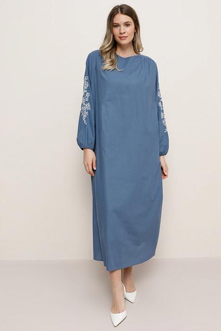 Alia İndigo Doğal Kumaşlı Nakış Detaylı Elbise