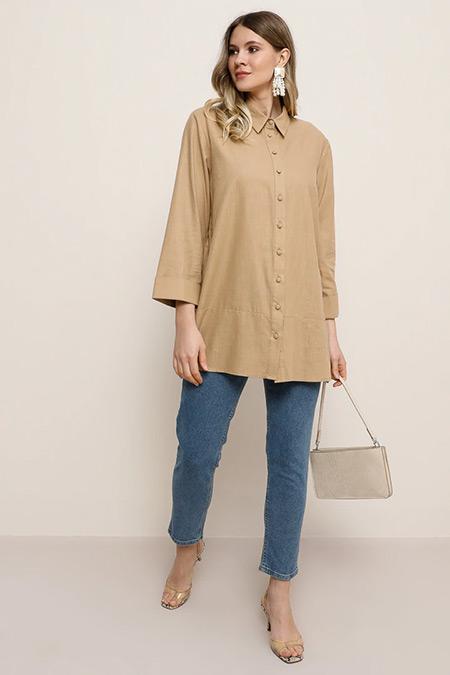 Alia Camel Doğal Kumaşlı Gömlek Tunik