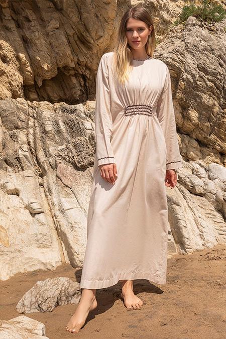 Alia Kum Beji Doğal Kumaşlı Beli Büzgülü Elbise