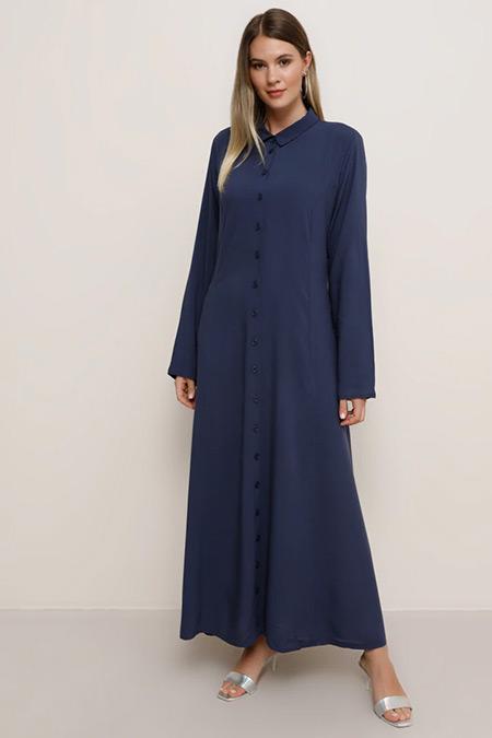 Alia Lacivert Doğal Kumaşlı Boydan Düğmeli Elbise