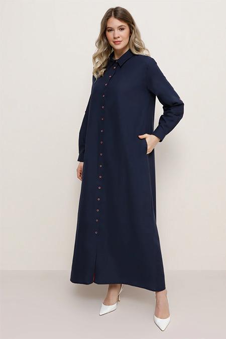 Alia Lacivert Doğal Kumaşlı Gizli Cepli Elbise