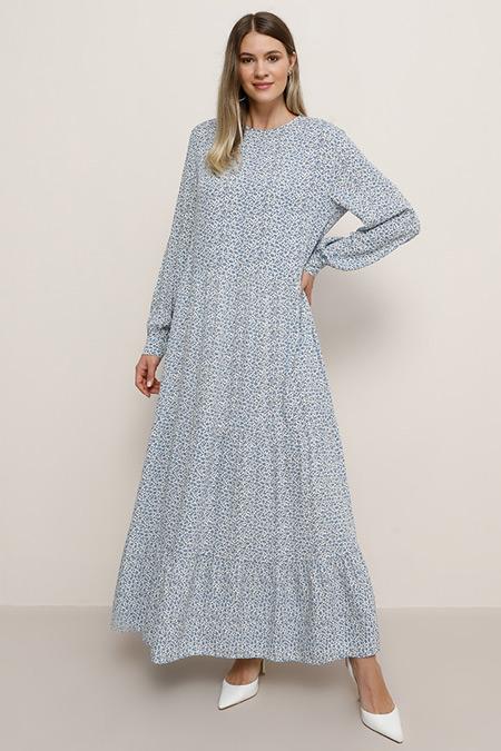 Alia Mavi Doğal Kumaşlı Çiçekli Elbise