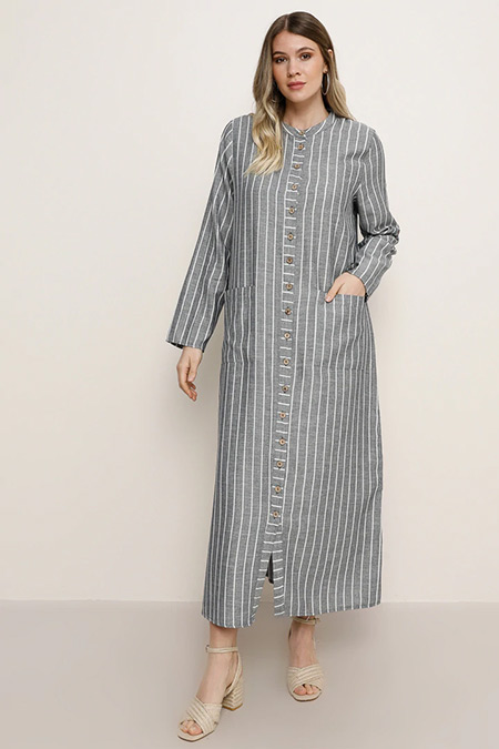 Alia Mavi Doğal Kumaşlı Çizgili Kap/Elbise