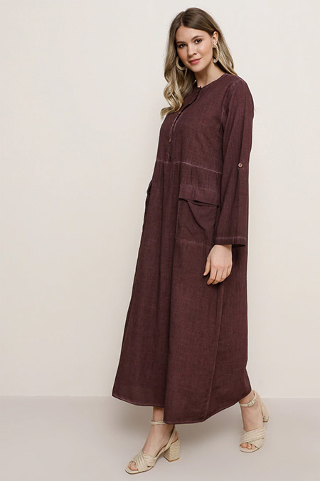 Alia Mistik Mor Doğal Kumaşlı Cep Detaylı Elbise